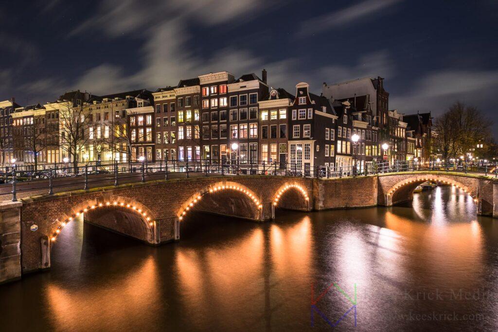 Amsterdam Reguliersgracht en Keizersgracht tijdens een storm.
